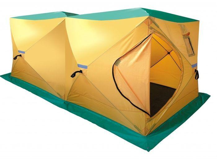 Палатка, баня Tramp DOUBLE HOT CUBE, цвет: желтый. TRT-121TRT-121Размер: 180х360х200 см Количество мест: 6 Колышки: 8 ввертышей-саморезов Количество входов: 1 Полный вес: 11,4 кг Размер в упаковке: 30х30х130 см Палатка дополнительно оборудована съемным выводом из огнеупорных материалов для трубы дымохода. Палатку можно использовать на зимней рыбалке с печным отоплением, в качестве бани. Вместимость 6-9 человек. Устанавливается за 120 секунд. Один вход, два смотровых и два вентиляционных окна.