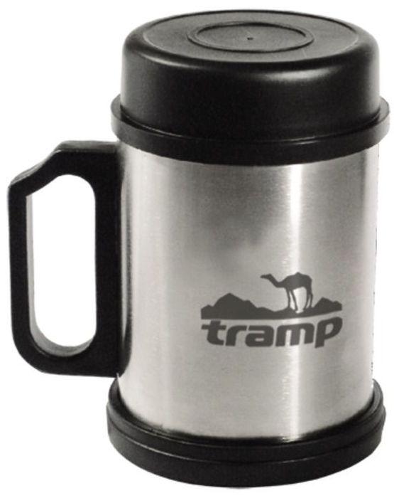 Термокpужка с крышкой и подставкой Tramp, цвет: серый, 0,4 л. TRС-007