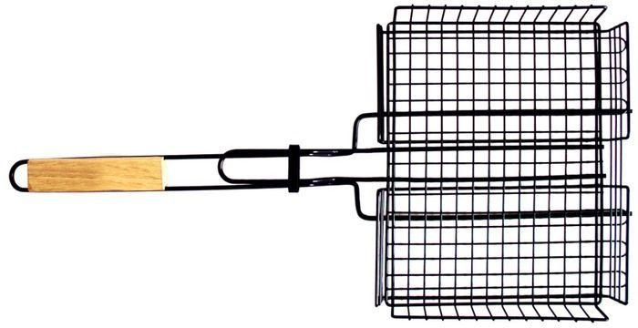 Решетка-гриль Тотеm, цвет: серый, 30х24х4см. TTB-005TTB-005Размер: 30 х 24 х 4 см Длина: 62 см Удлиненные усики: 5 см Предназначена для запекания мяса, птицы, рыбы, овощей. Тефлоновое покрытие не даст продуктам пригореть и позволит избежать неудобств при приготовлении пищи. Удобные деревянные ручки. Специальная конструкция позволяет задействовать максимальную площадь поверхности решетки для приготовления пищи. Глубокая форма решетки не позволяет упасть ни одному кусочку приготовляемой пищи.