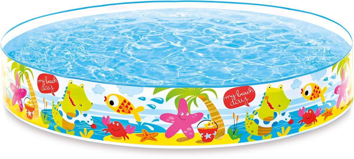 Надувной жесткий бассейн Intex Пляж, 152 х 25 см, от 3 лет. с56451с56451надувной бассейн жёсткий пляж 152х25см от 3лет