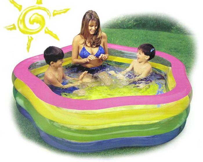 Надувной бассейн Intex Звезда Радуга, с надувным полом, 185 х 180 х 53 см, от 6 лет. с56495с56495Размер: 185х180х53 см