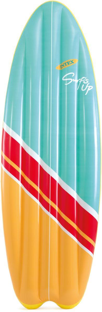 Надувной матрас Intex Серфер, цвет: желтый, красный, голубой, 178 х 69 см. с58152с58152надувной матрас серфер 178Х69см