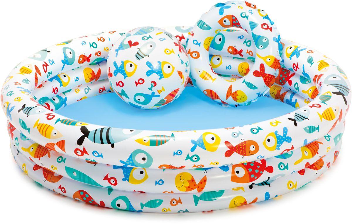 Надувной бассейн Intex Подводный мир, с мячом и кругом, 132 х 28 см, от 3 лет. с59469с59469Размер: бассейн - 132х28 см мяч - 51 см круг - 51 см
