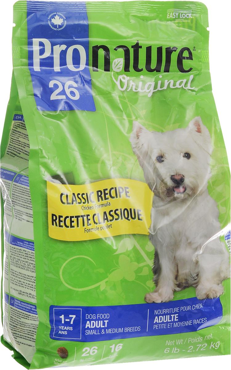 Корм сухой Pronature Original 26, для собак мелких и средних пород, с курицей, 2,72 кг102.546Взрослые собаки мелких и средних пород нуждаются в специальном сбалансированном питании в соответствии с их особыми потребностями. Восхитительный рецепт Pronature Original 26 для собак мелких и средних пород обеспечивает оптимальный баланс энергии и питательных веществ для здоровья и долголетия вашего маленького друга! Уникальный состав кормов Pronature Original 26 в котором нет сои, красителей, искусственных ароматизаторов и консервантов, гарантирует оптимальное развитие вашего животного на каждом этапе его жизни. Корм подходит для кошек в возрасте от 1 года до 7 лет. Товар сертифицирован.