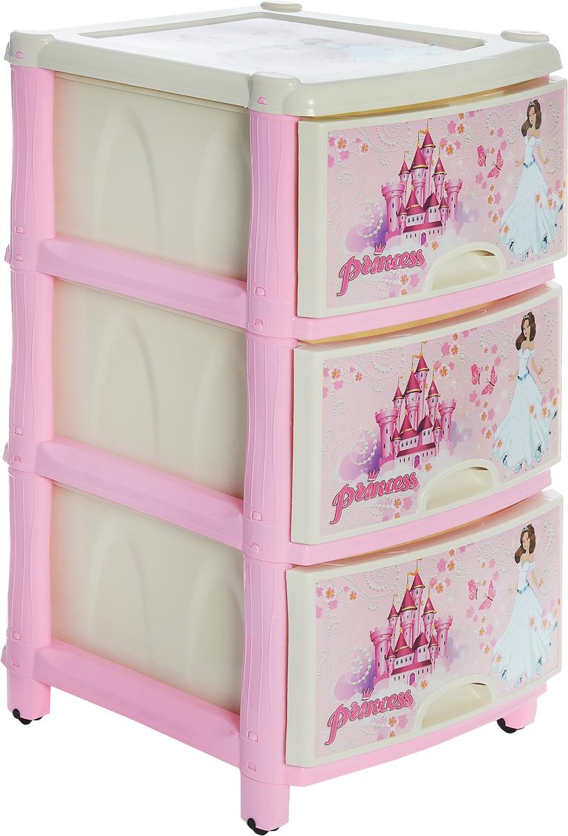 Альтернатива Комод детский цвет розовый молочный 47 х 40 х 76 см696593_розовый/молочныйВместительный и оригинальный детский комод Альтернатива идеально подойдет для детской комнаты. Трехсекционный комод выполнен из прочного пластика и оформлен изображением принцесс и дворцов. Сглаженные углы и облегченная конструкция комода безопасны даже для самых активных малышей. Яркие цвета комода станут прекрасным дополнением детской комнаты. Все ящики выдвижные, поэтому ребенок может самостоятельно доставать игрушки и убирать их на место после игры. Оснащен колесиками для удобной транспортировки. Размер ящиков: 34 см х 45 см х 20 см.
