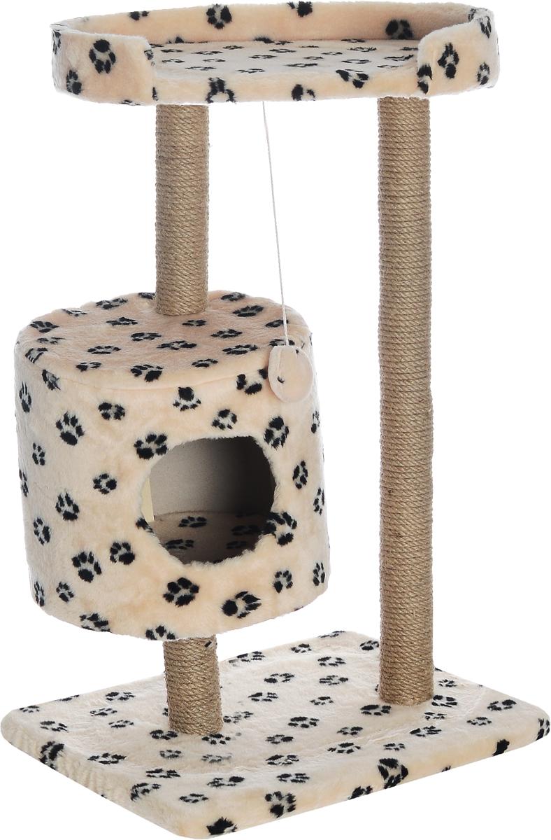 Домик-когтеточка Меридиан, круглый, с площадкой, цвет: бежевый, черный, 52 х 52 х 105 смД517Ла_бежевый, черный лапкиДомик-когтеточка Меридиан выполнен из высококачественного ДВП и ДСП и обтянут искусственным мехом. Изделие предназначено для кошек. Ваш домашний питомец будет с удовольствием точить когти о специальные столбики, изготовленные из джута. А отдохнуть он сможет либо на полке, либо в домике. Изделие снабжено подвесной игрушкой. Домик-когтеточка Меридиан принесет пользу не только вашему питомцу, но и вам, так как он сохранит мебель от когтей и шерсти. Общий размер: 52 х 52 х 105 см. Размер домика: 35 х 35 х 32 см. Размер полки: 51 х 29 см.