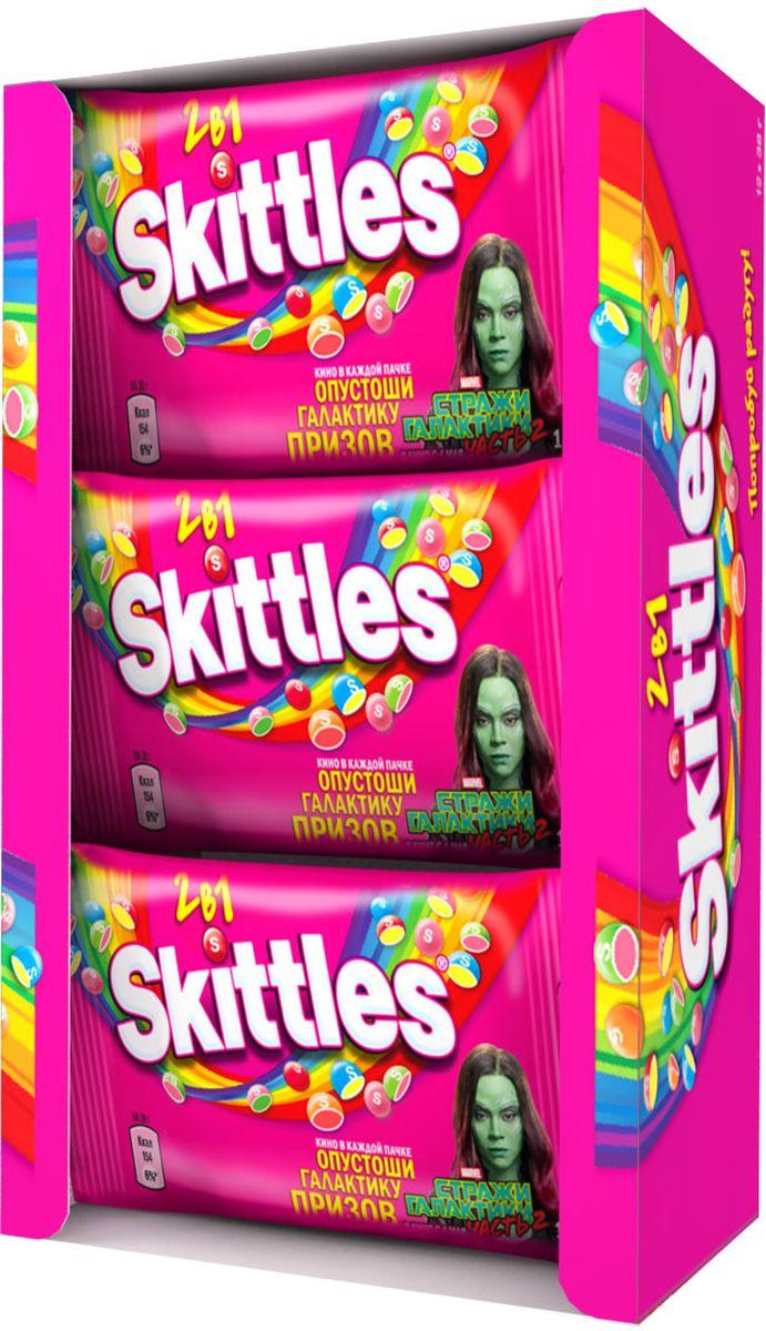Skittles 2 в 1 драже в сахарной глазури, 12 пачек по 38 г4009900461405Драже Skittles c разноцветной глазурью предлагают радугу фруктовых вкусов в каждой упаковке! Вкус 2 в 1 - это в два раза больше радуги, ведь в каждом драже - два фруктовых вкуса! Заразитесь радугой, попробуйте радугу! Уважаемые клиенты! Обращаем ваше внимание, что полный перечень состава продукта представлен на дополнительном изображении.