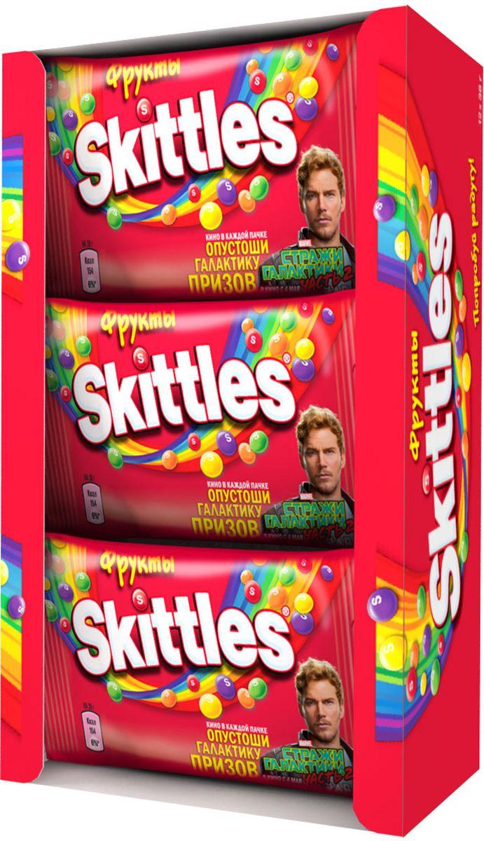 Skittles Фрукты драже в сахарной глазури, 12 пачек по 38 г5000159372923Жевательные конфеты Skittles Фрукты c разноцветной глазурью предлагают радугу фруктовых вкусов в каждой упаковке! Конфеты с ароматами лимона, лайма, апельсина, клубники и черной смородины: заразитесь радугой, попробуйте радугу! Уважаемые клиенты! Обращаем ваше внимание, что полный перечень состава продукта представлен на дополнительном изображении.