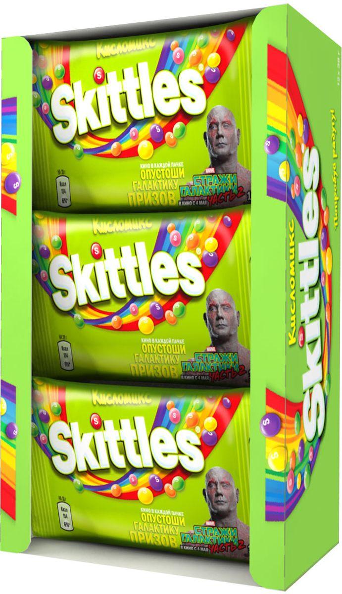 Skittles Кисломикс драже в сахарной глазури, 12 пачек по 38 г5000159438049Жевательные конфеты Skittles Кисломикс c разноцветной глазурью предлагают радугу кислых фруктовых вкусов в каждой упаковке! Конфеты с ароматами малины, ананаса, мандарина, вишни и яблока: заразитесь радугой, попробуйте радугу! Уважаемые клиенты! Обращаем ваше внимание, что полный перечень состава продукта представлен на дополнительном изображении.