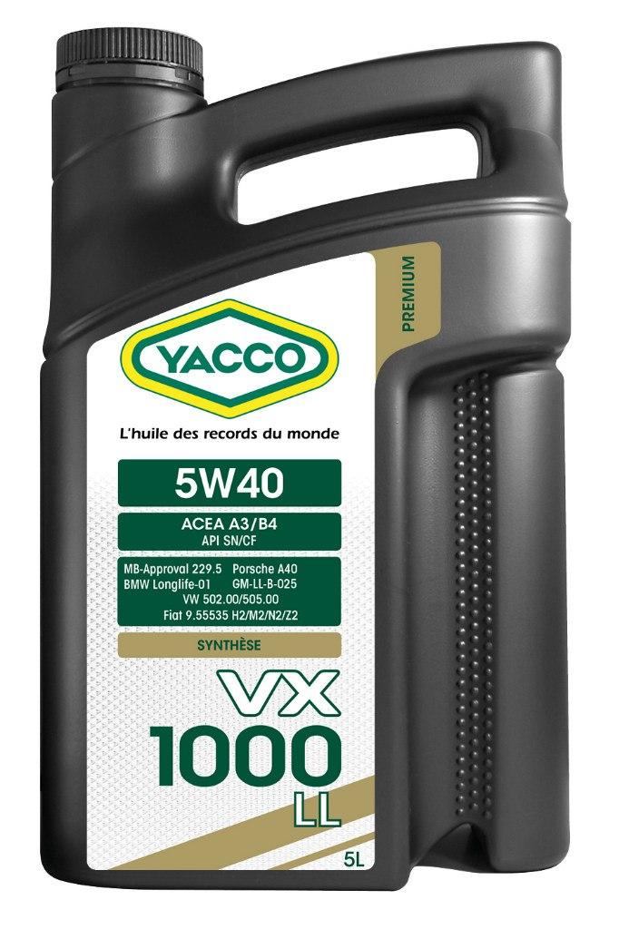 Масло моторное Yacco VX 1000 LL 5W40, 5 л302322VX 1000 LL 5W-40 Высокопроизводительное синтетическое масло для применения в бензиновых и дизельных двигателях, в том числе с увеличенным сервисным интервалом обслуживания (LongLife). ПРИМЕНЕНИЕ Официально одобрено производителями в соответствии с нормами API SN, BMW Longlife-01, MB-Approval 229.5, PORSCHE A40, VW 502.00/505.00 и рекомендовано к применению в высокомощных турбированных и атмосферных бензиновых (также многоклапанных) и дизельных? двигателях, работающих в условиях высоких нагрузок. Подходит для автомобилей, оборудованных каталитическим нейтрализатором отработавших газов (катализатором), а также автомобилей, работающих на сжиженном газе. ПРЕИМУЩЕСТВА • Благодаря высококачественной синтетической основе и особому пакету присадок данное масло значительно первосходит по своим характеристикам обычные масла класса вязкости 5W-40 и распологает официальными допусками ведущих европейских автопроизводителей • Повышенная устойчивость к деформации сдвига обеспечивают качественную...