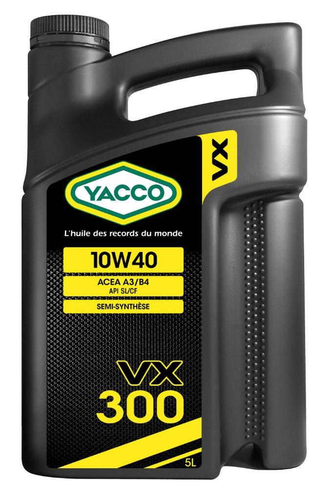 Масло моторное Yacco VX 300 10W40, 5 л303322VX 300 10W-40 Полусинтетическое масло для бензиновых и дизельных двигателей ПРИМЕНЕНИЕ: Качественное полусинтетическое масло для применения в высокомощных бензиновых и дизельных двигателях. Рекомендовано к использованию во всех видах бензиновых и дизельных двигателей, в том числе турбированных, многоклапанных и оборудованных каталитическим нейтрализатором отработавших газов (катализатором). Значительно превышает эксплуатационные требования норм ACEA A3/B4, API SL/CF MB 229.1, VW 501.01 и 505.00 ПРЕИМУЩЕСТВА: • Формула разработана на синтетической основе, что позволяет повысить термостойкость, и обеспечивает превосходную смазку в любых условиях • Специальный пакет присадок, рассчитанный на эксплуатацию в дизельных двигателях с системой непосредственного впрыска топлива: улучшенная защита от образования отложений в высокотемпературных режимах • Класс вязкости SAE 10W-40 с хорошими низкотемпературными показателями для защиты двигателя во время пуска СПЕЦИФИКАЦИИ И ОДОБРЕНИЯ: ACEA...