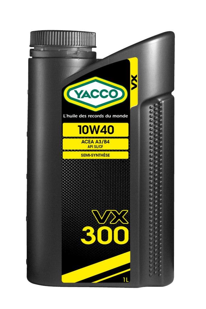 Масло моторное Yacco VX 300 10W40, 1 л303325VX 300 10W-40 Полусинтетическое масло для бензиновых и дизельных двигателей ПРИМЕНЕНИЕ: Качественное полусинтетическое масло для применения в высокомощных бензиновых и дизельных двигателях. Рекомендовано к использованию во всех видах бензиновых и дизельных двигателей, в том числе турбированных, многоклапанных и оборудованных каталитическим нейтрализатором отработавших газов (катализатором). Значительно превышает эксплуатационные требования норм ACEA A3/B4, API SL/CF MB 229.1, VW 501.01 и 505.00 ПРЕИМУЩЕСТВА: • Формула разработана на синтетической основе, что позволяет повысить термостойкость, и обеспечивает превосходную смазку в любых условиях • Специальный пакет присадок, рассчитанный на эксплуатацию в дизельных двигателях с системой непосредственного впрыска топлива: улучшенная защита от образования отложений в высокотемпературных режимах • Класс вязкости SAE 10W-40 с хорошими низкотемпературными показателями для защиты двигателя во время пуска СПЕЦИФИКАЦИИ И ОДОБРЕНИЯ: ACEA...
