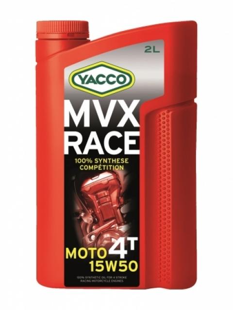 Масло Yacco MVX RACE 4T 15W50, для 4-тактных двигателей спортивных мотоциклов, 2 л332024MVX RACE 4T 15W-50 100% синтетическое масло для 4-тактных двигателей спортивных мотоциклов ПРИМЕНЕНИЕ Специальная формула масла, разработанная для мотоциклов, участвующих в спортивных соревнованиях. Адаптировано и рекомендовано для следующих дисциплин: скоростные гонки, гонки на выносливость, мотокроссы, эндуро. Отличная смазка коробок передач и сцеплений в масляной ванне. Смешивается со смазочными материалами аналогичных классов. ПРЕИМУЩЕСТВА • Отличная стабильность масла в высокотемпературных режимах при самых жестких условиях эксплуатации. • Оптимальная и быстрая смазка узлов при запуске двигателя • Отличные моющие и диспергирующие свойства обеспечивают соответствующую чистоту двигателя • Улучшенная защита двигателя от износа • Поддержка оптимальных характеристик двигателя СПЕЦИФИКАЦИИ И ОДОБРЕНИЯ Разработанное для применения в спортивных соревнованиях масло MVX RACE 4T 15W-50 значительно превосходит характеристики, определенные международными стандартами