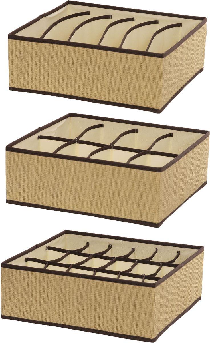 Набор органайзеров HomeMaster, 32 х 24 х 12 см, 3 штSN011Набор из трех органайзеров предназначен для хранения аксессуаров и нижнего белья. Он обеспечит бережное хранение вещей и позволит организовать внутреннее пространство вашего дома. Теперь вы быстро найдете необходимую вещь. Органайзер можно расположить, как на полке, так и в выдвижном ящике вашего шкафа.