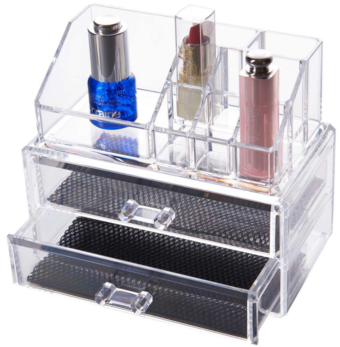 Органайзер для косметики HomeMaster, 19 х 10 х 16 смSO02609Стильный и практичный органайзер для ювелирных украшений. Шкатулка имеет несколько отделений для цепочек и браслетов, а так же хранения косметики.
