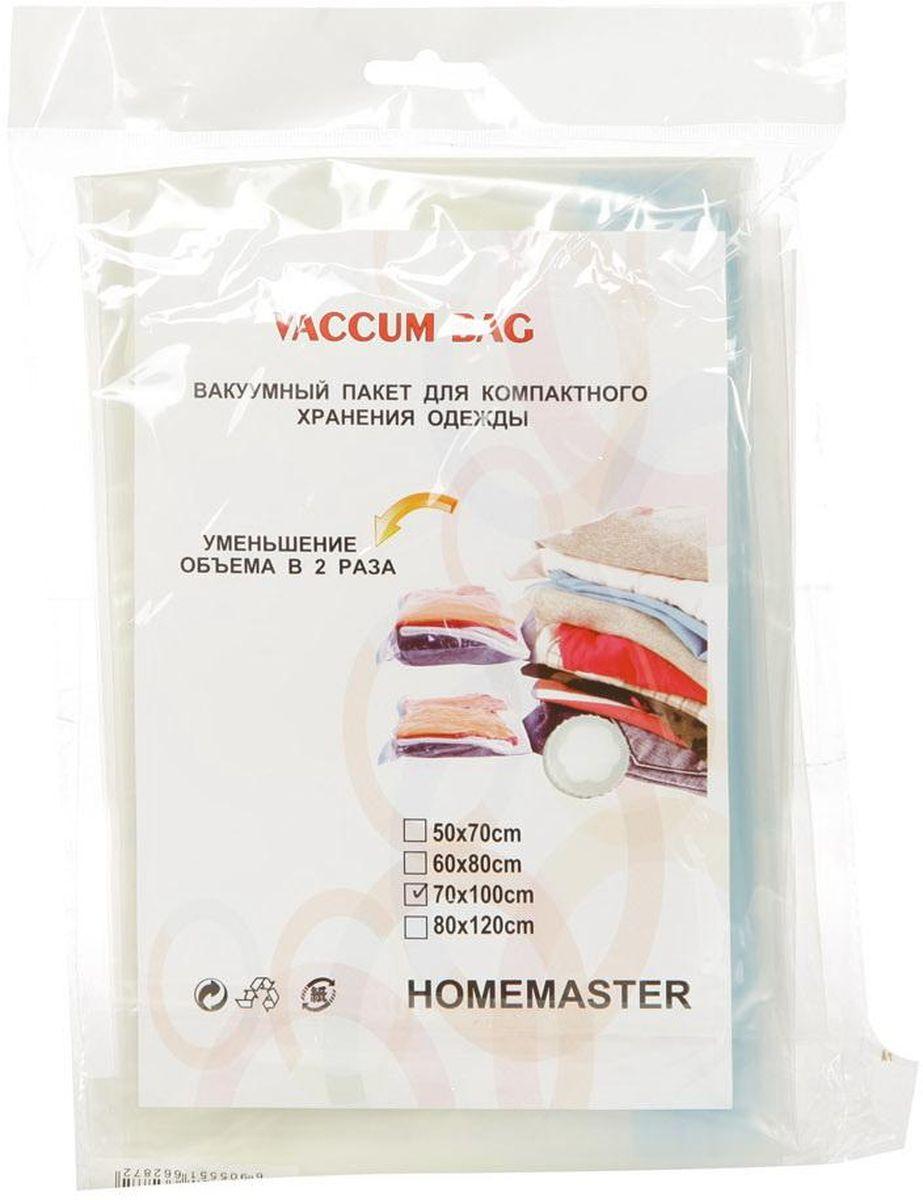Набор вакуумных пакетов HomeMaster, 70 х 100 см, 2 штSO260-70x100Вакуумный компрессионный чехол предназначен для компактного хранения и транспортировки постельного белья, одежды, мягких игрушек. Позволяет уменьшить объём занимаемого пространства на 80%. Работает со всеми видами пылесосов. Вакуумный пакет позволяет защитить находящуюся в нём вещь от воды, грязи, пыли, насекомых, плесени, запаха. Вакуумный чехол применяется для любого вида ткани и материала. Пакеты изготовлены из полиэтилена высокой плотности.