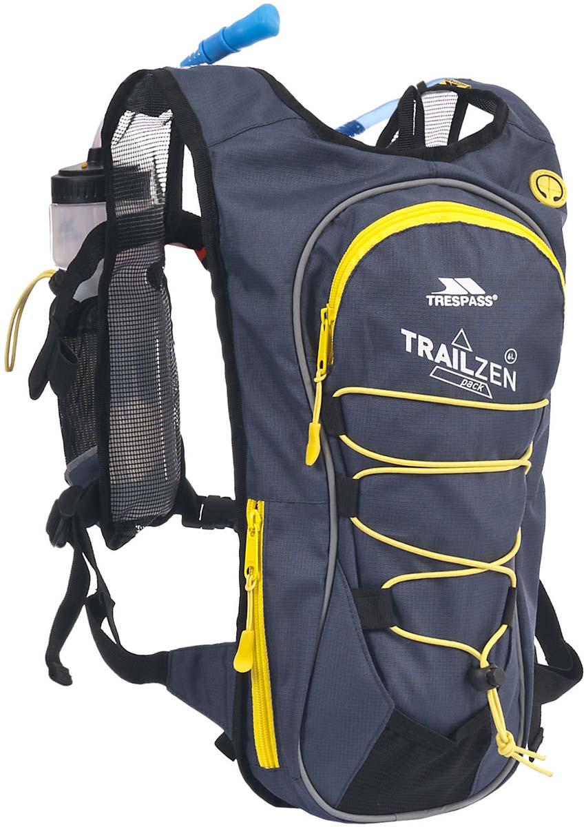 Рюкзак спортивный Trespass Trailzen, цвет: серый, 6 л + Бутылка 0,75 мл и питьевая системаUAACBAK20001Великолепный спортивный рюкзак объемом 6 л с питьевой системой.