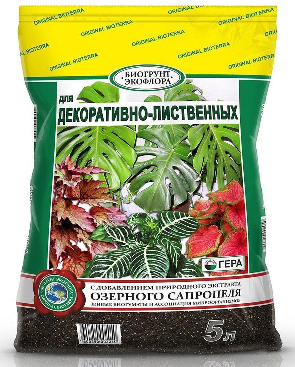 Биогрунт Гера Для декоративно-лиственных, 5 л1009Полностью готовый к применению грунт для выращивания декоративно-лиственных растений в открытом грунте (в качестве основной заправки гряд, клумб, альпийских горок и других цветников) и закрытом грунте (в теплице, зимнем саду, комнатном цветоводстве) таких как диффенбахии, маранты, калатеи, хлорофитумы, кротоны (кодиеумы), фиттонии, сансевиерии, драцены, юкки, монстеры, шеффлеры, пальмы и фикусы различных видов и др.; проращивания семян; выращивания цветочной рассады; выгонки луковичных растений; мульчирования (укрытия) почвы под растениями; посадки, пересадки, подсыпки или смены верхнего слоя почвы у растущих растений. Состав: смесь торфов различной степени разложения, экстракт сапропеля, песок речной термически обработанный, гумат калия, комплексное минеральное удобрение, вермикулит/агроперлит, мука известняковая (доломитовая).