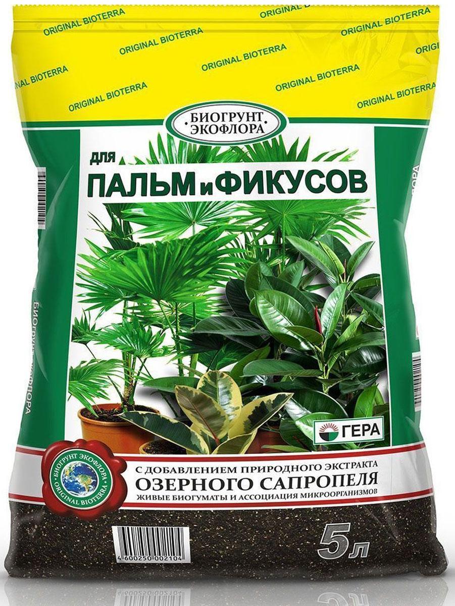 Биогрунт Гера Для пальм и фикусов, 5 л1021Полностью готовый к применению грунт для выращивания декоративно-лиственных растений в открытом грунте (в качестве основной заправки гряд, клумб, альпийских горок и других цветников) и закрытом грунте (в теплице, зимнем саду, комнатном цветоводстве) таких как пальмы различных видов (финиковая, хамеропс, вашингтония, ховея, ливинстона, трахикарпус, хамедорея), фикусы различных видов (каучуконосный, Бенджамина, лировидный, бенгальский (баньян) и др.), а также циперуса, корделины, драцены, юкки, диффенбахии, монстеры, кротона (кодиеума) и др.; проращивания семян; выращивания цветочной рассады; выгонки луковичных растений; мульчирования (укрытия) почвы под растениями; посадки, пересадки, подсыпки или смены верхнего слоя почвы у растущих растений. Состав: смесь торфов различной степени разложения, экстракт сапропеля, песок речной термически обработанный, гумат калия, комплексное минеральное удобрение, вермикулит/агроперлит, мука известняковая (доломитовая).