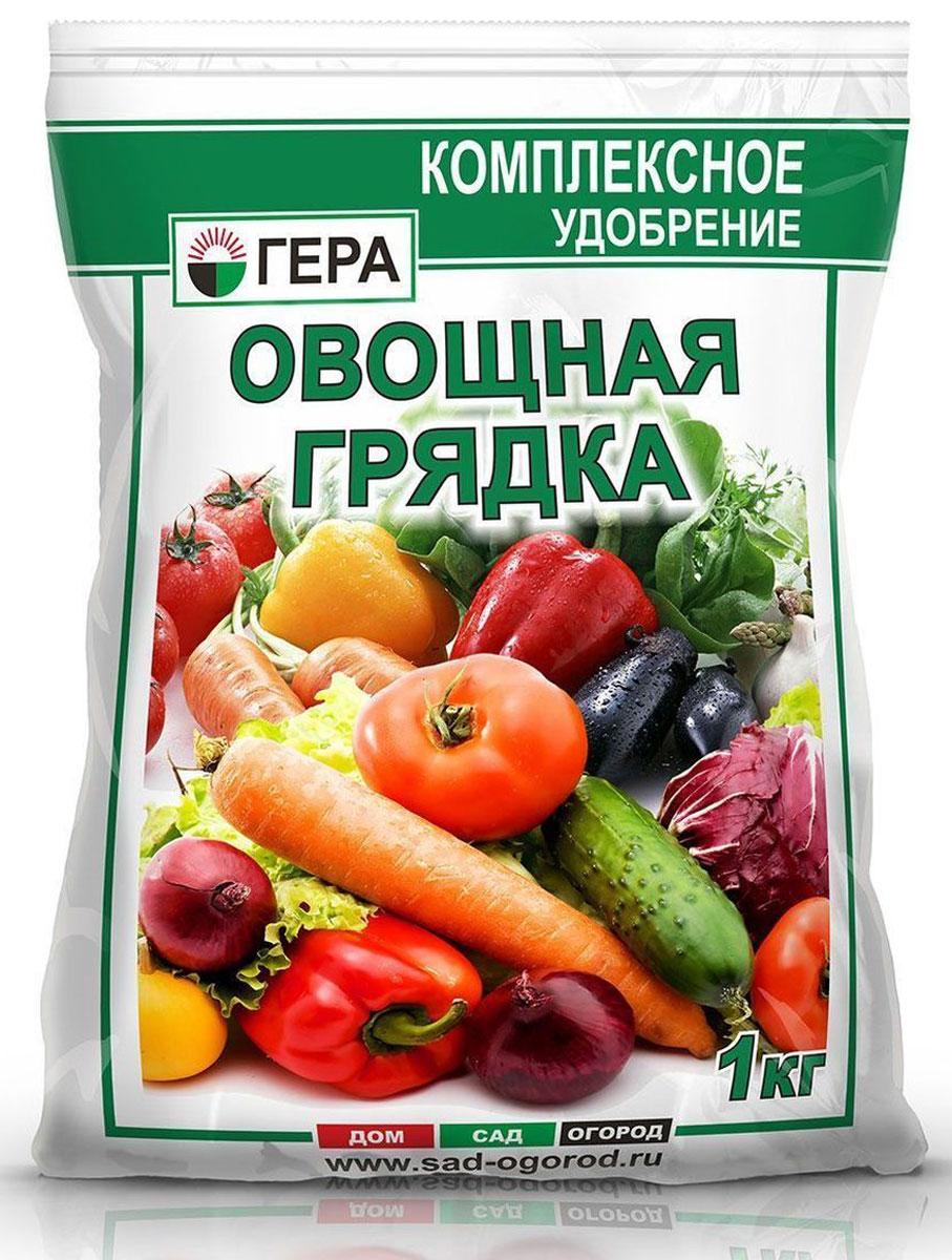 Удобрение Гера Урожай. Овощная грядка, 1 кг2016Урожай Овощная грядка ? смешанное минеральное удобрение для основного внесения и подкормки различных овощных культур: томатов, огурцов, перцев, баклажанов, капусты и др. Содержит полный сбалансированный набор элементов питания, необходимых для нормального роста и развития растений. Увеличивает рост наземной и корневой части растений, повышает устойчивость растений к неблагоприятным воздействиям окружающей среды, болезням и вредителям. Способствует ускорению созревания и улучшению качества урожая, повышению содержания сахаров и витаминов и дальнейшему хранению урожая.
