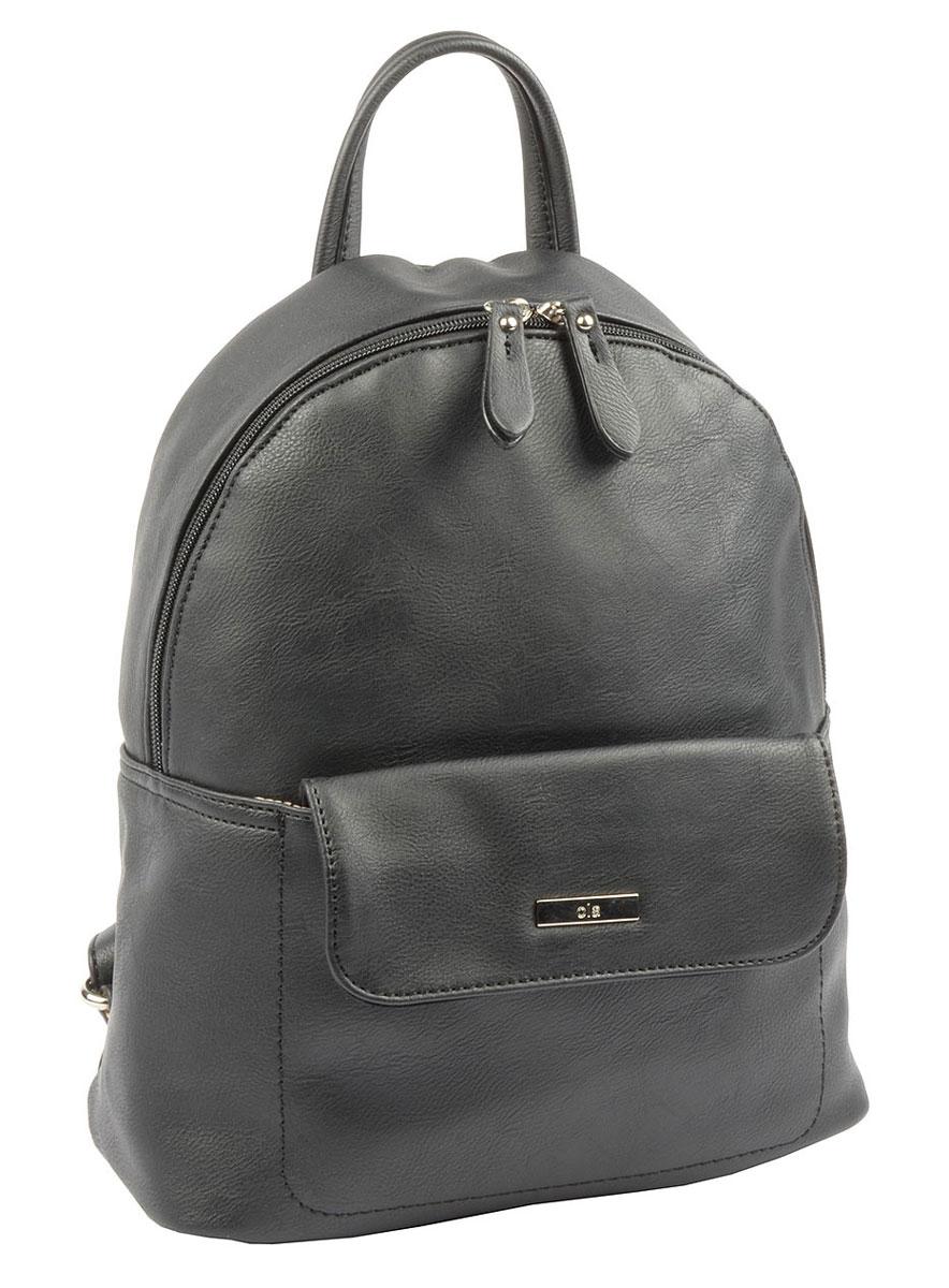 Рюкзак женский David Jones, цвет: черный. L7115L7115 BlackЖенская сумка-рюкзак David Jones изготовлена из качественной искусственной кожи. Сумка-рюкзак имеет одно вместительное отделение и застегивается на застежку-молнию. Внутри отделения находятся два кармана - один открытый накладной и один врезной на молнии. На лицевой части рюкзака расположен карман под клапаном с магнитной кнопкой. Изделие оснащено ручкой для переноски и двумя наплечными ремнями, длину которых можно регулировать.