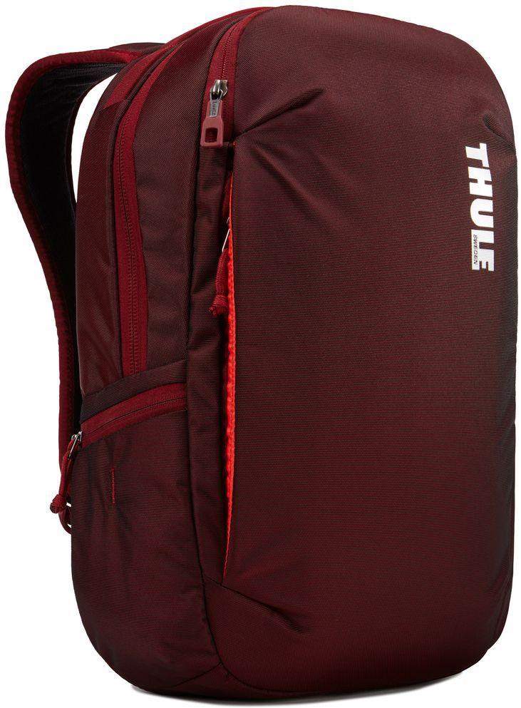 Рюкзак городской Thule Subterra Backpack, цвет: темно-бордовый, 23 л3203439Стильный дорожный рюкзак с защитой электронных устройств и отделением PowerPocket для упорядоченного хранения шнуров и зарядных устройств.