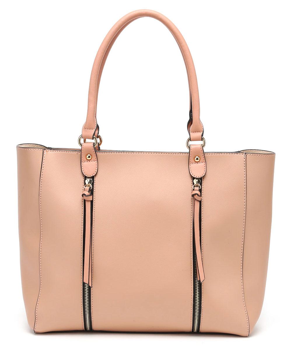 Сумка женская DDA, цвет: бежевый, 2 шт. BS-3003BS-3003 PinkЖенская сумка DDA выполнена из качественной искусственной кожи. В комплекте 2 сумочки: большая с двумя русками и маленькая с наплечным ремнем. Большая сумка имеет одно вместительное отделение и застегивается на молнию. Лицевая часть оформлена двумя декоративными молниями. Сумка не содержит дополнительных карманов. Маленькая сумочка имеет съемный плечевой ремень, содержит одно отделение и застегивается на молнию. Внутри отделения расположены два открытых накладных кармана и один врезной. Сумочка легко помещается в большую.