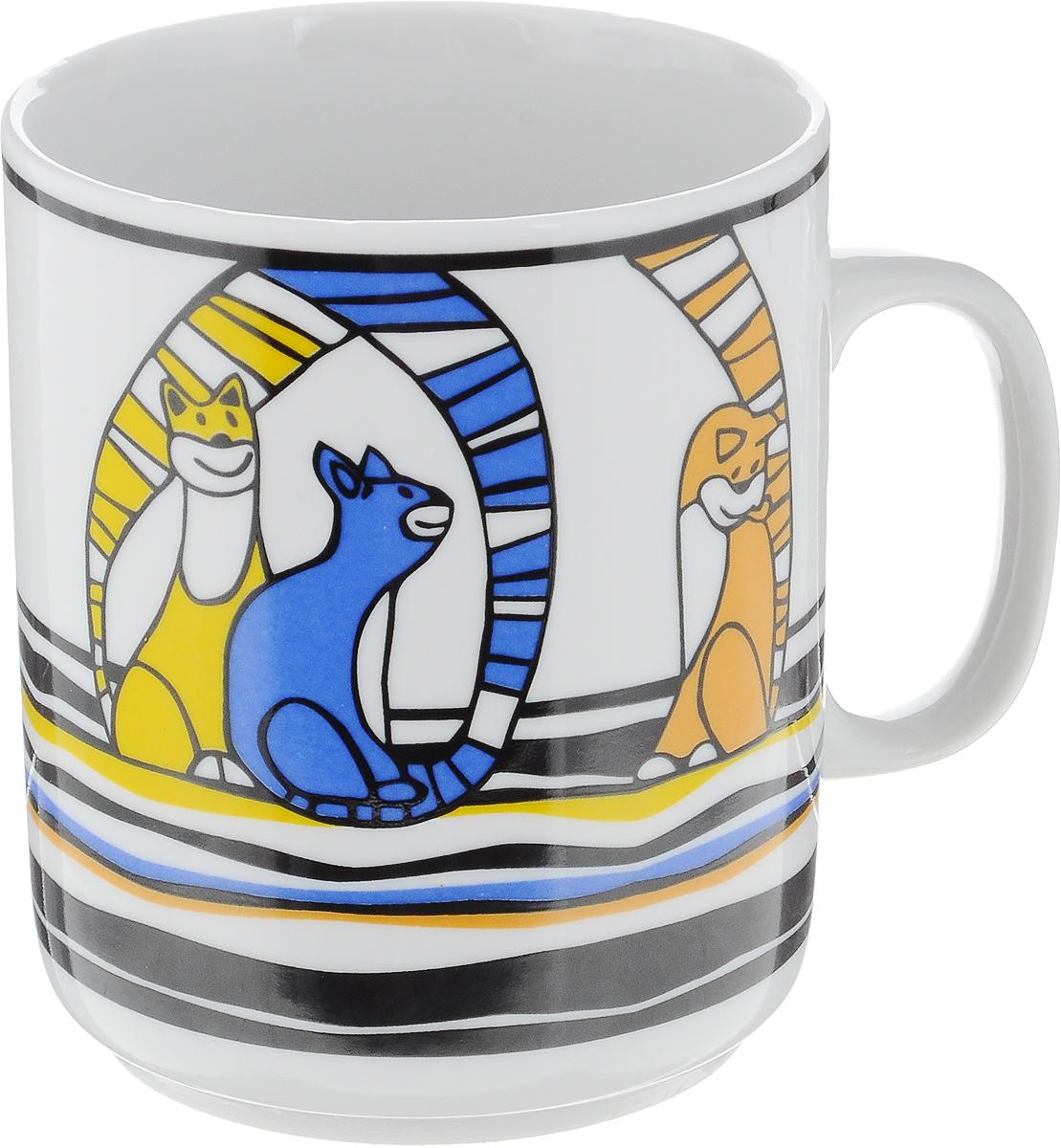 Кружка Фарфор Вербилок Коты, цвет: оранжевый, синий, желтый, 300 мл9272480_оранжевый, синий, желтыйКружка Фарфор Вербилок Коты, цвет: оранжевый, синий, желтый, 300 мл