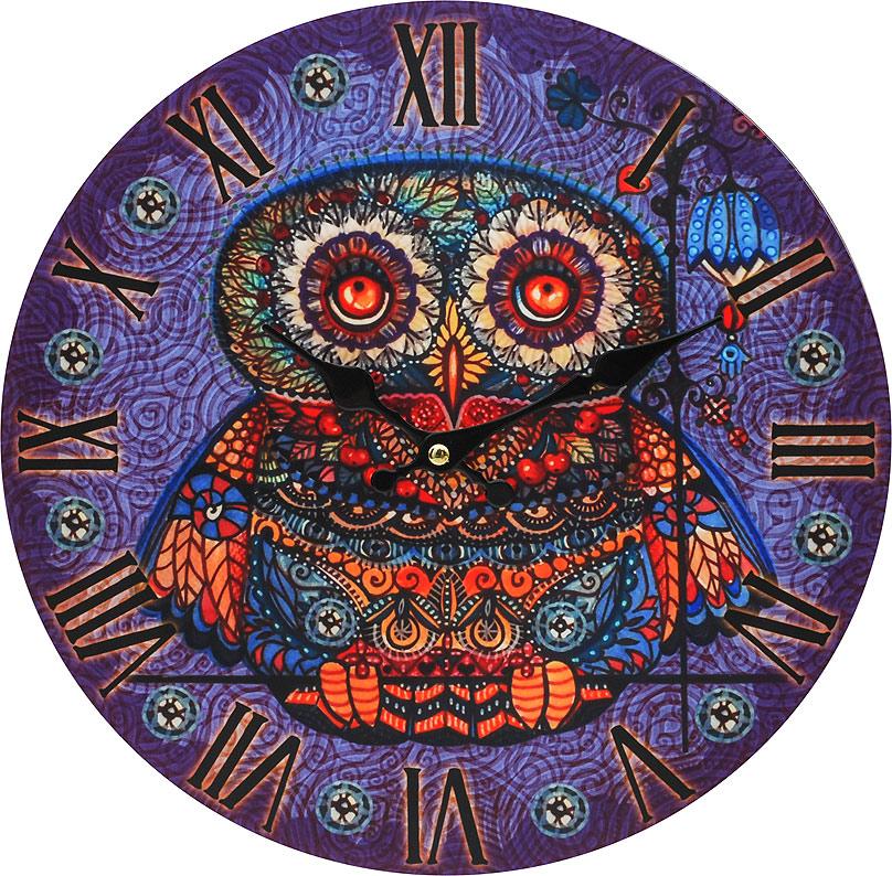 Часы настенные Белоснежка Волшебная сова, диаметр 34 см001-CLЦиферблат: открытый, выполнен из листа оргалита с декоративным покрытием. Стрелки металлические – часовая и минутная. Часовой механизм закрыт пластиковым корпусом. Питание от одного элемента питания стандарта АА. Отверстие для крепления часов на стену. Диаметр 34 см.