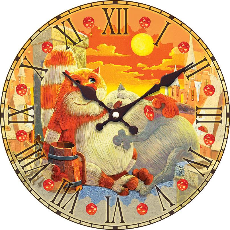 Часы настенные Белоснежка Поздний ужин, диаметр 34 см010-CLЦиферблат: открытый, выполнен из листа оргалита с декоративным покрытием. Стрелки металлические – часовая и минутная. Часовой механизм закрыт пластиковым корпусом. Питание от одного элемента питания стандарта АА. Отверстие для крепления часов на стену. Диаметр 34 см.