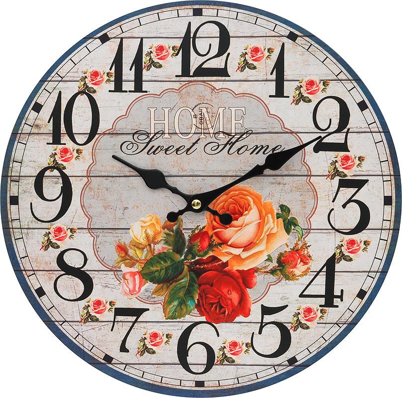 Часы настенные Белоснежка Любимый дом, диаметр 34 см110-CLЦиферблат: открытый, выполнен из листа оргалита с декоративным покрытием. Стрелки металлические – часовая и минутная. Часовой механизм закрыт пластиковым корпусом. Питание от одного элемента питания стандарта АА. Отверстие для крепления часов на стену. Диаметр 34 см.