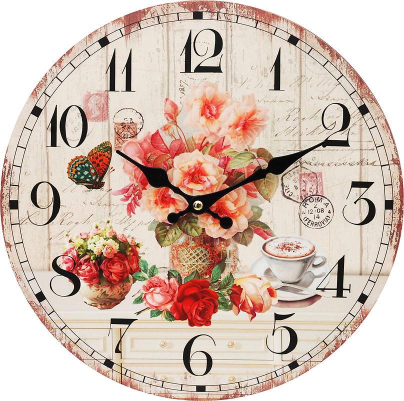 Часы настенные Белоснежка Розы и кофе, диаметр 34 см112-CLЦиферблат: открытый, выполнен из листа оргалита с декоративным покрытием. Стрелки металлические – часовая и минутная. Часовой механизм закрыт пластиковым корпусом. Питание от одного элемента питания стандарта АА. Отверстие для крепления часов на стену. Диаметр 34 см.