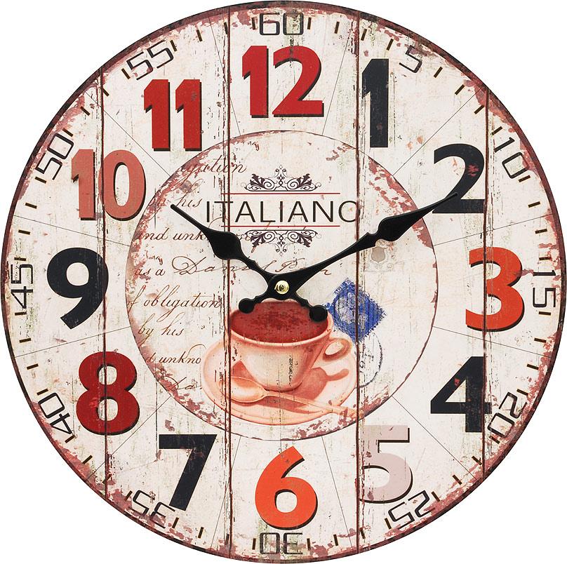 Часы настенные Белоснежка Кофе из Италии, диаметр 34 см113-CLЦиферблат: открытый, выполнен из листа оргалита с декоративным покрытием. Стрелки металлические – часовая и минутная. Часовой механизм закрыт пластиковым корпусом. Питание от одного элемента питания стандарта АА. Отверстие для крепления часов на стену. Диаметр 34 см.