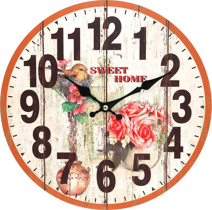 Часы настенные Белоснежка Цветы и птичка, диаметр 34 см117-CLЦиферблат: открытый, выполнен из листа оргалита с декоративным покрытием. Стрелки металлические – часовая и минутная. Часовой механизм закрыт пластиковым корпусом. Питание от одного элемента питания стандарта АА. Отверстие для крепления часов на стену. Диаметр 34 см.