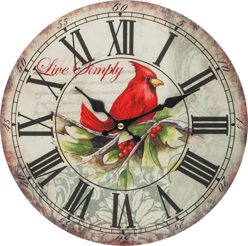 Часы настенные Белоснежка Красный кардинал, диаметр 34 см121-CLЦиферблат: открытый, выполнен из листа оргалита с декоративным покрытием. Стрелки металлические – часовая и минутная. Часовой механизм закрыт пластиковым корпусом. Питание от одного элемента питания стандарта АА. Отверстие для крепления часов на стену. Диаметр 34 см.