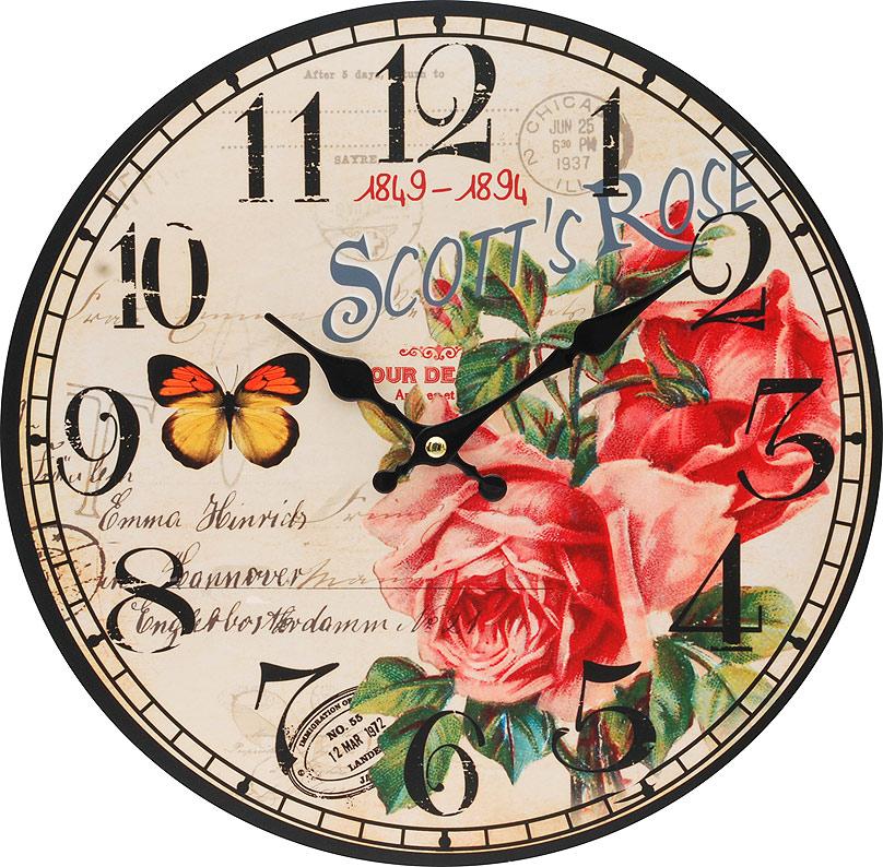 Часы настенные Белоснежка Розовый куст, диаметр 34 см126-CLЦиферблат: открытый, выполнен из листа оргалита с декоративным покрытием. Стрелки металлические – часовая и минутная. Часовой механизм закрыт пластиковым корпусом. Питание от одного элемента питания стандарта АА. Отверстие для крепления часов на стену. Диаметр 34 см.