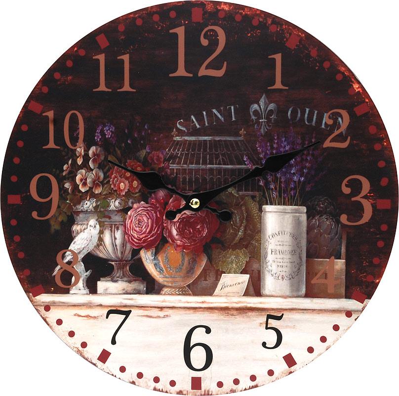 Часы настенные Белоснежка Вечерний Прованс, диаметр 34 см128-CLЦиферблат: открытый, выполнен из листа оргалита с декоративным покрытием. Стрелки металлические – часовая и минутная. Часовой механизм закрыт пластиковым корпусом. Питание от одного элемента питания стандарта АА. Отверстие для крепления часов на стену. Диаметр 34 см.