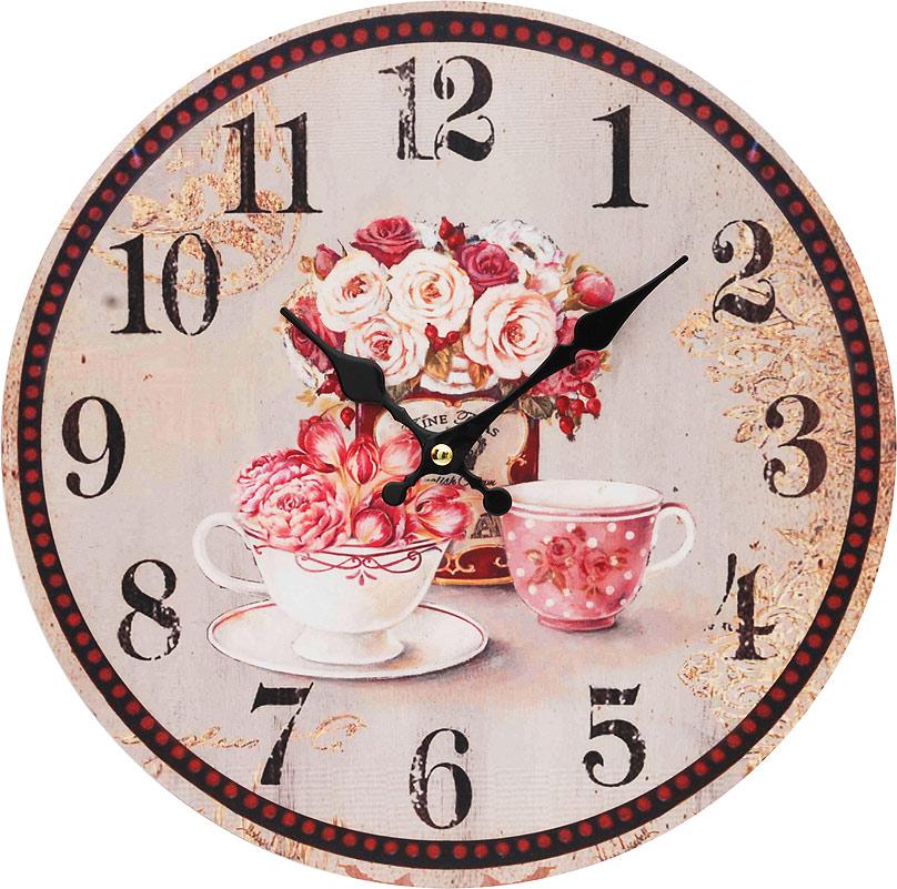 Часы настенные Белоснежка Розы, диаметр 34 см130-CLЦиферблат: открытый, выполнен из листа оргалита с декоративным покрытием. Стрелки металлические – часовая и минутная. Часовой механизм закрыт пластиковым корпусом. Питание от одного элемента питания стандарта АА. Отверстие для крепления часов на стену. Диаметр 34 см.
