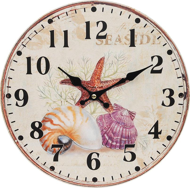 Часы настенные Белоснежка Морские сокровища, диаметр 34 см132-CLЦиферблат: открытый, выполнен из листа оргалита с декоративным покрытием. Стрелки металлические – часовая и минутная. Часовой механизм закрыт пластиковым корпусом. Питание от одного элемента питания стандарта АА. Отверстие для крепления часов на стену. Диаметр 34 см.