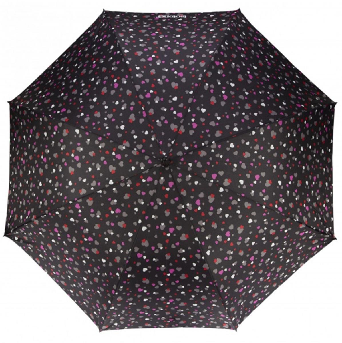 Зонт женский Isotoner Цветные сердца, механический, 5 сложений, цвет: черный, мультиколор. 09137-357709137-3577Компактный женский зонт Isotoner изготовлен из металла и пластика. Каркас зонта на прочном металлическом стержне. Купол зонта изготовлен качественного полиэстера. Закрытый купол застегивается на липучку хлястиком. Практичная рукоятка закругленной формы разработана с учетом требований эргономики. Зонт складывается и раскладывается механическим способом. Такой зонт не только надежно защитит от дождя, но и станет стильным аксессуаром.