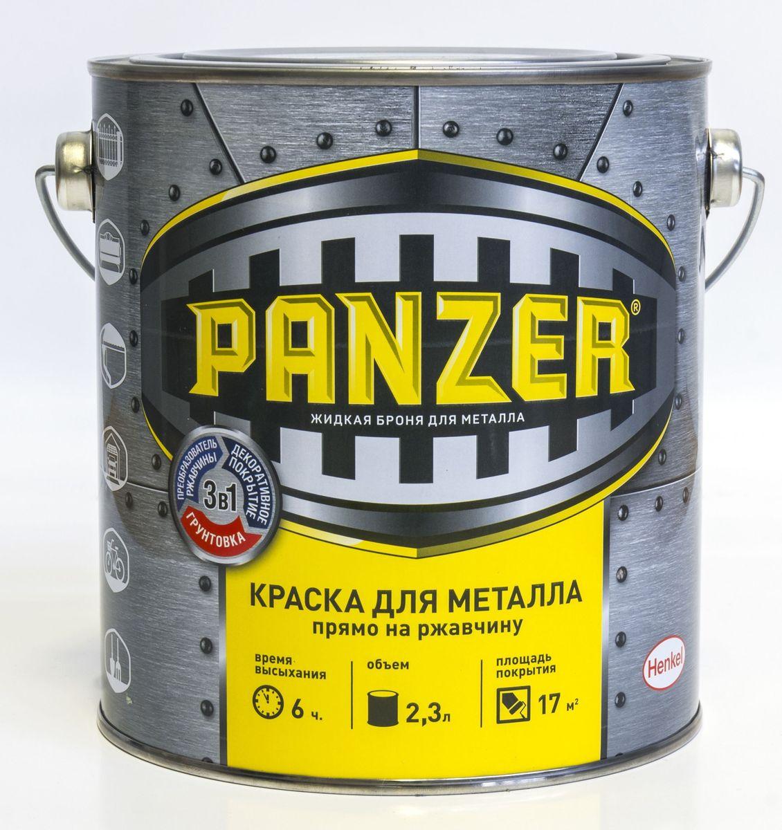 "Краска эмалевая гладкая для металла ""Panzer"", цвет: черный (9006), 2,3 л TBVPAG039005B"