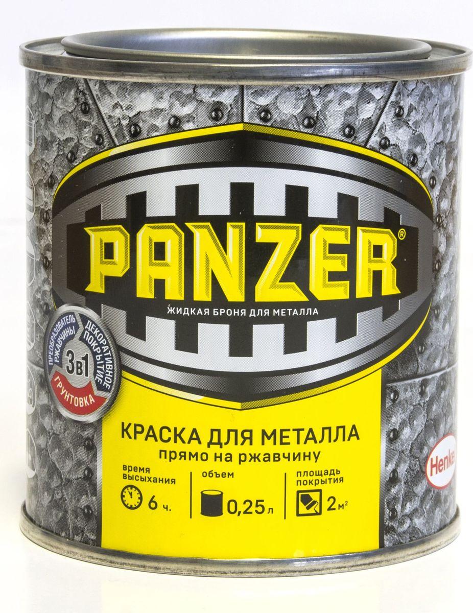"Краска эмалевая молотковая для металла ""Panzer"", цвет: черный (9005), 0,25 л TBVPAM019005B"