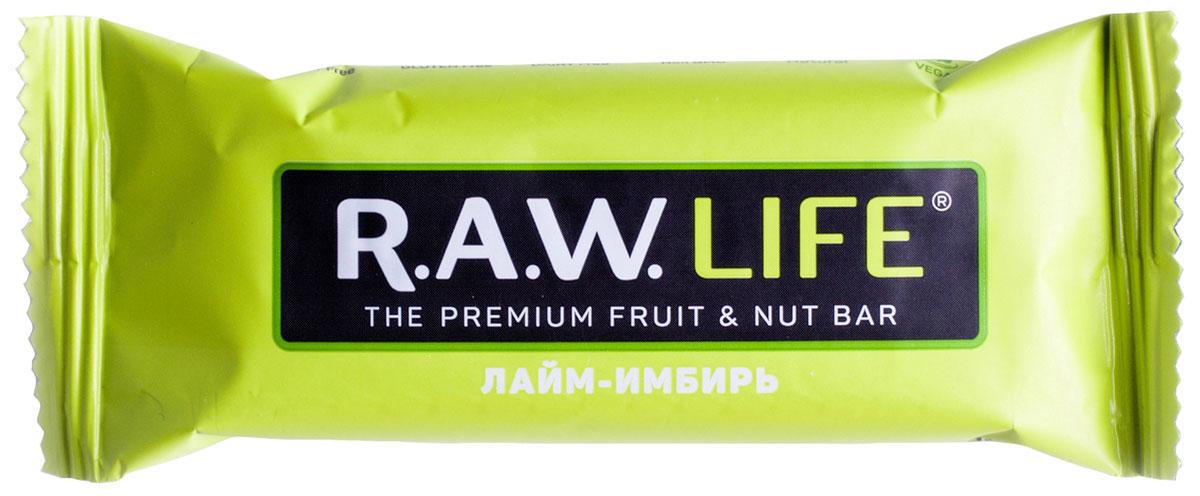 R.A.W.LIFE Лайм-Имбирь орехово-фруктовый батончик, 47 г