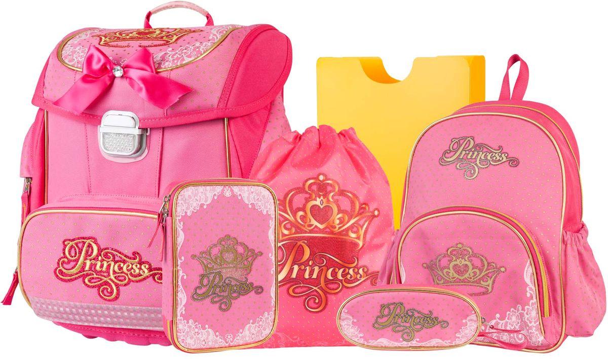 Target Collection Ранец школьный Принцесса 6 в 119663Ранец изготовлен из современных, прочных материалов. Техническими особенностями ранца является система Flexiball - поясничная поддержка, правильно распределяет вес ранца, автоматически подстраивается под ребенка, и поэтому обеспечивает идеальное положение в области поясницы ребёнка. Плечевые лямки можно регулировать для каждого ребенка индивидуально, содержат вентиляционные отверстия, оснащены ЭКО-пеной. Светоотражающий материал присутствует на передней, боковой и задней частях рюкзака, что позволяет сделать вашего ребенка более заметным, а так же обезопасить его не только днем, но и ночью. Молнии рюкзака прочные, металлические. В комплект данного набора входит сам ранец, малый рюкзак, сумка для сменной обуви, пенал овальный, пенал с канцтоварами ( В наполнение пенала входит точилка, ластик, три шариковые ручки синего, черного и красного цвета, два графитовых простых карандаша, 12 цветных карандашей бренда FILA Италия, 12 фломастеров бренда FILA Италия, клей, ножрницы),...