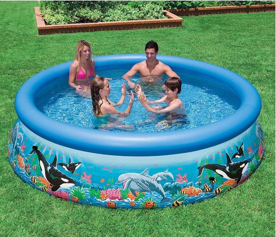 Надувной бассейн Intex Easy Set. Риф Океана, 305 х 76 см. с28124с28124Надувной бассейн линейки Easy Set (305х76 см) Риф океана от Intex (Интекс) - отличный вариант для купания родителей вместе с детьми. Красивый и функциональный, а благодаря технологии SUPER-TOUGH надежный. Стенки бассейна имеют три отдельных слоя: два слоя сделаны из плотного винила, третий слой - из особо прочного полиэстера. Внешне бассейн украшен яркими изображениями морских обитателей. Для удобства слива воды имеется клапан, который при необходимости можно присоединить к садовому шлангу. Устанавливается на ровной поверхности, при сборке не требует особых технических средств.