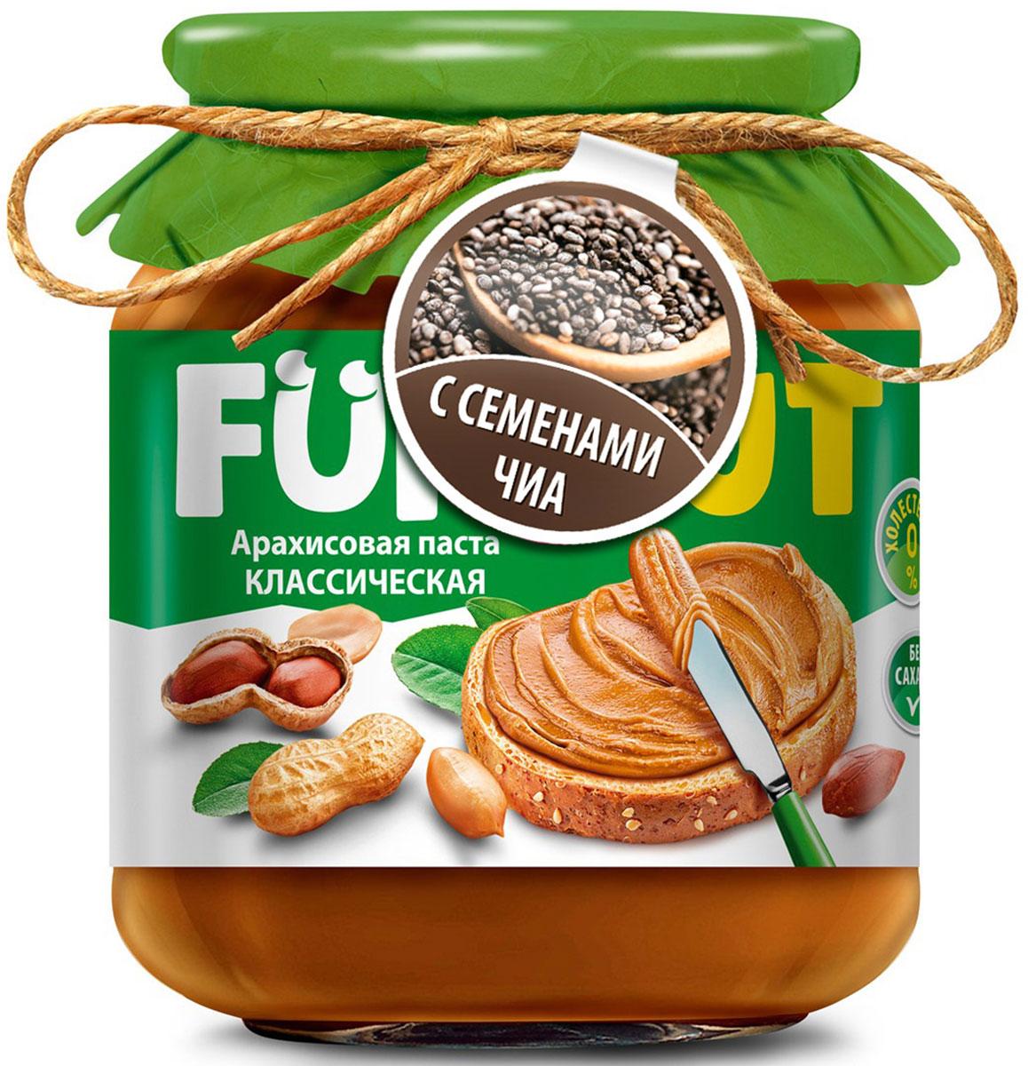 Funnat Арахисовая паста классическая с добавлением чиа, 340 г4607125989782