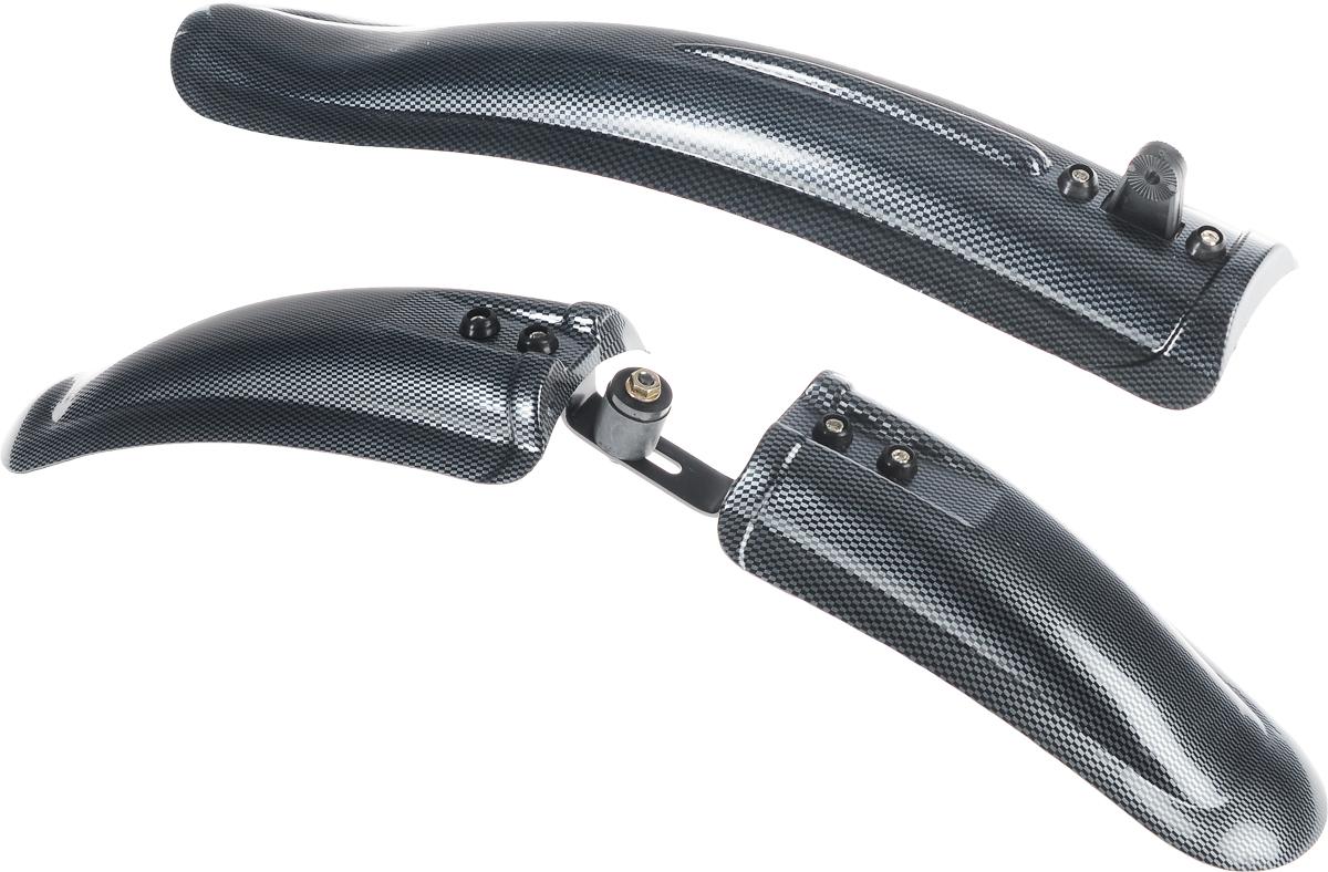 Комплект велосипедных крыльев V-Grip, цвет: черный, серый, 2 штCWF20026-FJK/CWF20022-RJKКомплект велосипедных крыльев V-Grip включает в себя 2 крыла: переднее и заднее. Переднее крыло крепится за проушину в вилке/переднем амортизаторе, заднее крепится к раме велосипеда. Изделия выполнены из высококачественного гибкого пластика. Крылья подойдут для велосипедов с размером колес 26. В комплект входят крепежный набор и инструкция по установке. Размер переднего крыла: 55 х 9,5 х 5,5 см. Размер заднего крыла: 47 х 9,5 х 5,5 см.