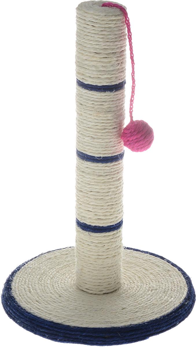 Когтеточка Triol, на подставке, цвет: темно-синий, молочный, 46 х 30 смКк-01000_темно-синийКогтеточка Triol выполнена из сизаля, пластика и МДФ в виде столбика на подставке. Сверху к когтеточке крепится шарик на веревочке. Всем кошкам необходимо стачивать когти. Когтеточка - один из самых необходимых аксессуаров для кошки. Когтеточка должна располагаться на такой высоте, чтобы кошка могла встать на задние лапы и вытянуть наверх передние. Для приучения к когтеточке можно натереть ее сухой валерьянкой или кошачьей мятой. Когтеточка Triol поможет вашему любимцу стачивать когти и при этом не портить вашу мебель. Высота когтеточки: 46 см. Диаметр основания: 30 см.