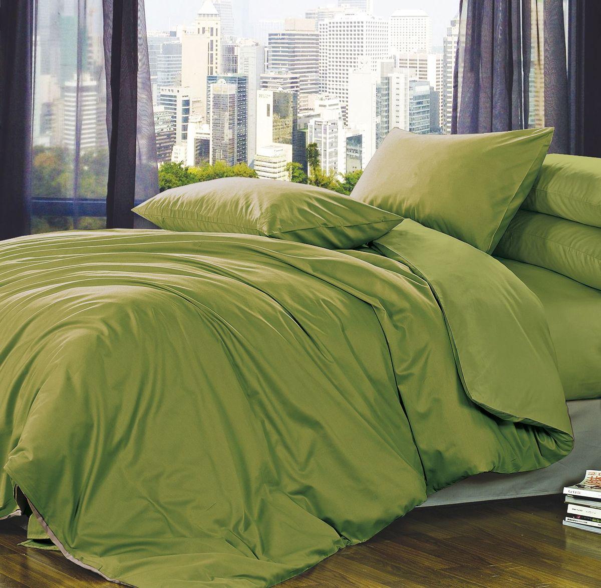 Комплект белья Коллекция Зеленый, 2,5-спальный, наволочки 50x70. ПС2.5/50/ОЗ/зелПС2.5/50/ОЗ/зел