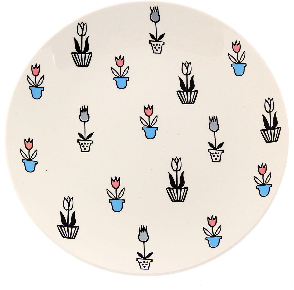 Тарелка Сотвори чудо Тюльпаны, диаметр 22 см2277895Хотите обновить интерьер кухни или гостиной? Устраиваете необычную фотосессию или тематический праздник? А может, просто ищете подарок для близкого человека? Посуда « Сотвори Чудо» — правильный выбор в любой ситуации. Её достоинства: изящный фаянс нежного сливочного цвета; стойкость краски; пригодность для посудомоечных машин.